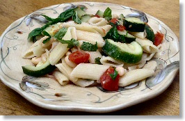 Zucchini and Beans on Pasta