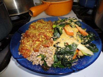 cooked buckwheat groats, eggplant sauce, steamed chard, carrots, broccoli,nutritional yeast