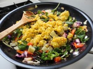 stir fried veggies with Japanese sweet potato and red lentil quinoa kitchari