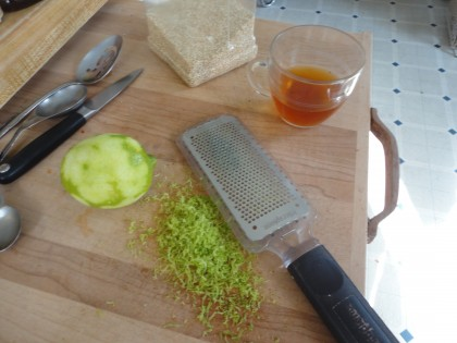 quinoa, whole lime, lime zest, soaking water from dried tomatoes, microplane grater