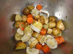 Carrots and Potatoes with Lovage Leeks Parsnips