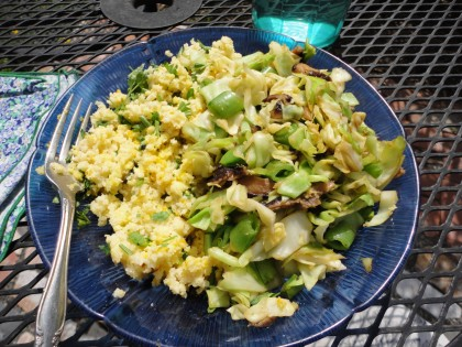 cabbage, sugar snap pea and mushroom stir fry with millet