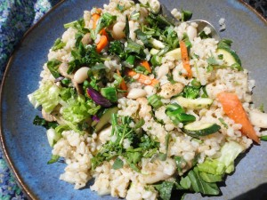 Spring soupalad: romaine, zucchini, carrot, broccoli, brown rice white beans, broth