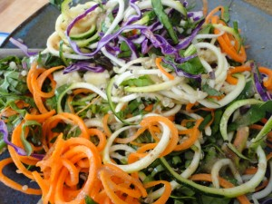 "red cabbage carrot and zucchini ""noodles"""