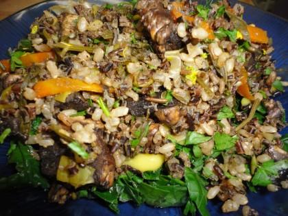 Wild Mushroom Brown and Wild Rice Pilaf with Leeks