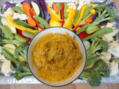 veggie plate wtih carrot cashew dip