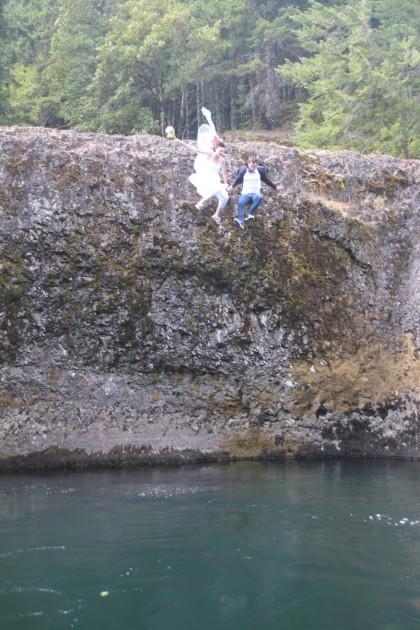 wedding jump Clackamas River Oregon
