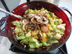 Millet Salad with Mushrooms and Pineapple