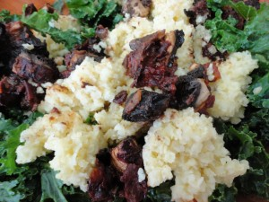 Chipotle Barbecued Mushrooms on Massage Kale and Millet