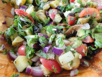 Shake and Serve Warm Potato Salad up cloe
