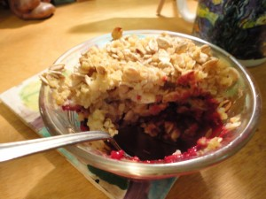 blackberry cobbler with spoon
