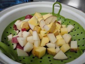 potatoes in steamer