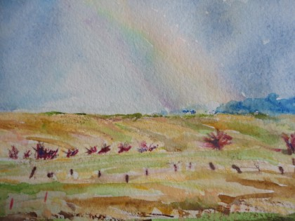 Palouse Rainbow 2 original watercolor by Maria Theresa Maggi