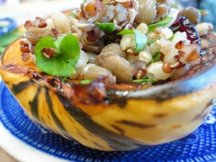 red quinoa brown rice lentil stuffed squash 2