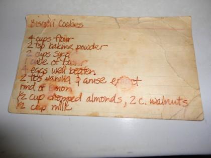 Biscotti recipe card