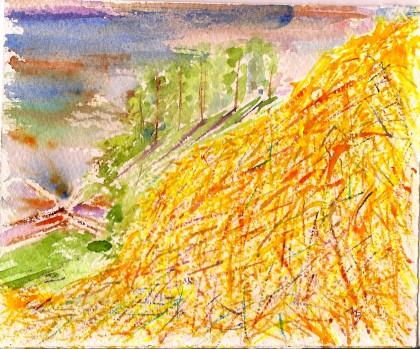 Haystack, Sunset watercolor scan