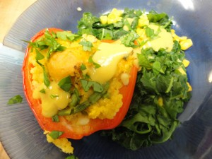 Savory Solstice Millet Stuffed Pepper with Greens and Corn