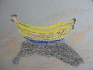 bananas in chalk pastel by Maria Theresa Maggi