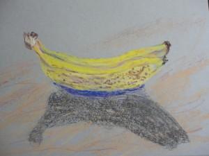 bananas in chalk pastel by Maria Theresa Maggi