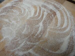 cutting board floured with brown rice flour