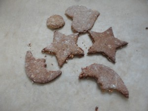 Having spent the night in the turned off oven, these cookies magically turned into dog biscuits for Romeo.