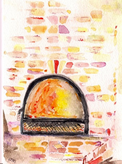 stove glow 2 original watercolor by Maria Theresa Maggi