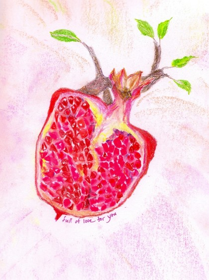 Pomegranate Heart Valentine original mixed media drawing by Maria Theresa Maggi
