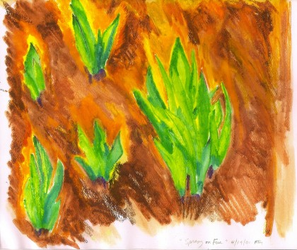 Spring on Fire watercolor by Maria Theresa Maggi