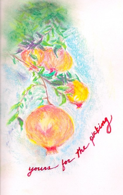 Yours for the picking: original chalk pastel drawing by Maria Theresa Maggi