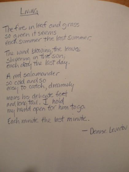 Living by Denise Levertov