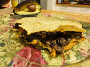 black bean mushroom and sweet potato baked quesadilla