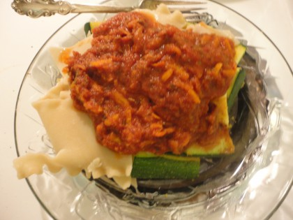 zucchini slices brown rice lasagne pieces and marina dinner