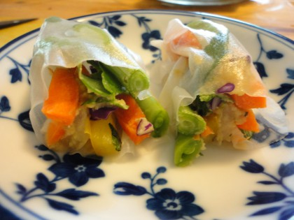 Tasty Thai Style Hummus veggie wrap cut in half