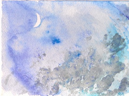Twilight Crescent original watercolor by Maria Theresa Maggi