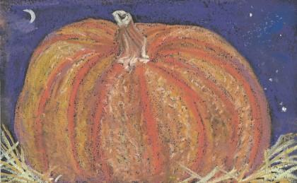 """A Great Pumpkin"" original chalk pastel by Maria Theresa Maggi"