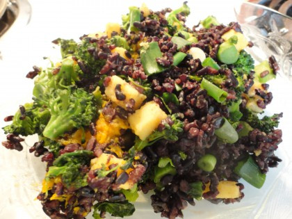 Stir fry with Burmese Style Tofu made with Yellow Lentils, broccoli, black rice, green onion and a little cooked pumpkin