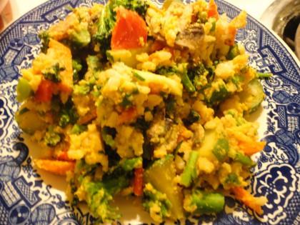 Burmese Style Yellow Lentil Tofu and veggie scramble