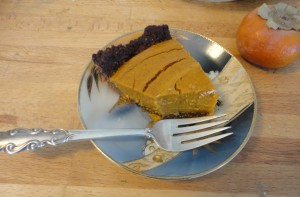 Coconut Kissed Pumpkin Persimmon Pie with Carob Millet Crust