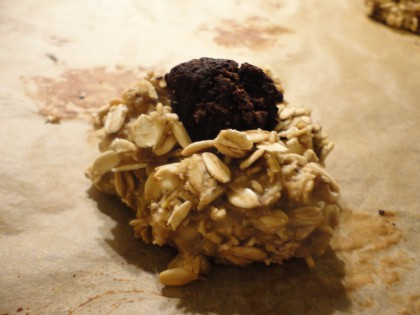 single carob fudge fingerprint cookie