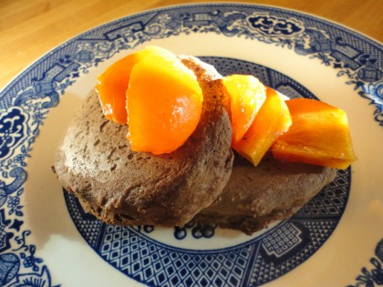 teff carob pancakes with persimmon