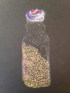 Flax Seeds in Jar original chalk pastel drawing by Maria Theresa Maggi