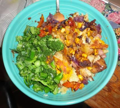 potato veggie bake and broccolini