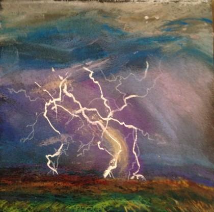 """Lightning"" original chalk pastel drawing by Maria Theresa Maggi"