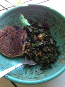 blueberry oat pancake and Kale salad