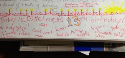 journal page on Mike's 13th birthday