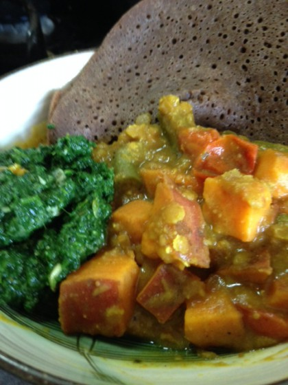 Fusion Red Lentil Stew and Injera
