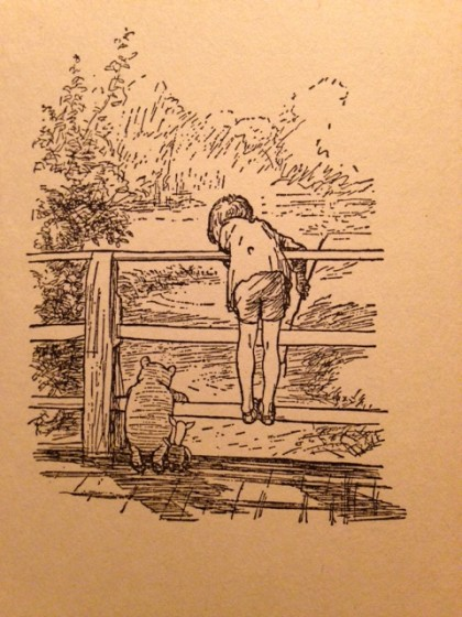 "Pooh and Christopher Robin, ""decoration"" by Ernest H. Shepard from my 1958 copy of The House At Pooh Corner, by A. A. Milne."