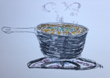 Watched Pot charcoal and chalk pastel sketch by MTM