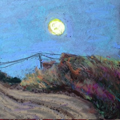 Moonrise at sunset, Depoe Bay, chalk pastel by Maria Theresa Maggi