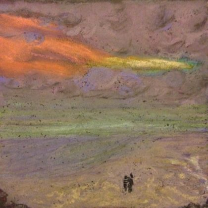Sunset 2 Lincoln Beach chalk pastel by Maria Theresa Maggi